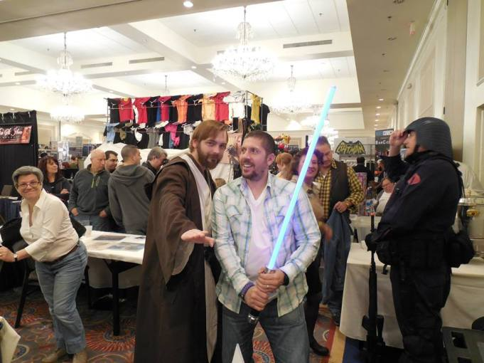 Me with actor Ray Park (Darth Maul) using MY lightsaber. (I let him hold it for the photo)