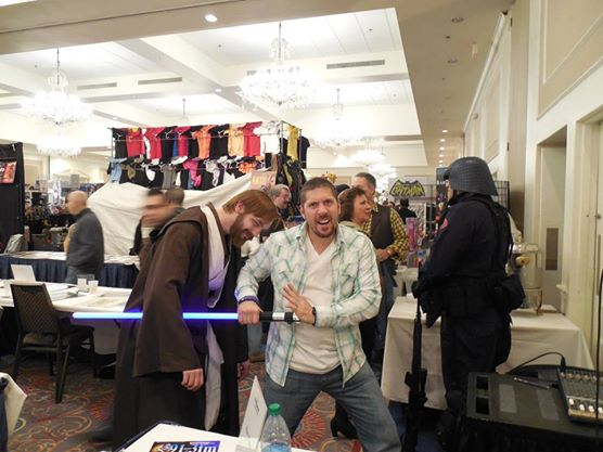 Actor Ray Park (Darth Maul) stabbing me with MY OWN LIGHTSABER. I let him hold it for the photo