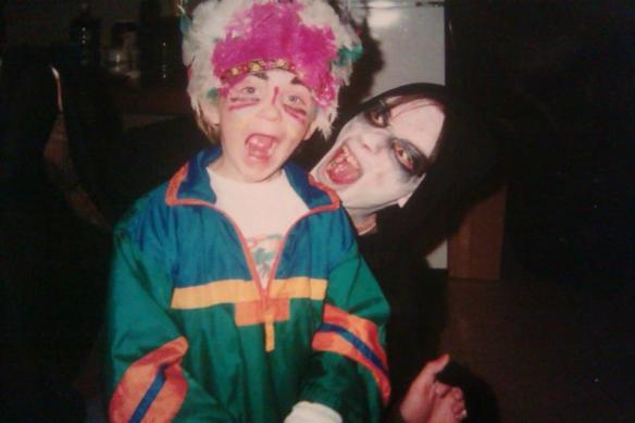 This is me (on the right) with my youngest brother, Alex. I did his makeup, too.