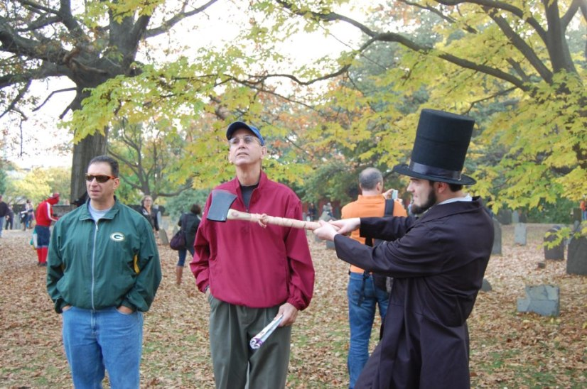 Me as Abe in Salem, Mass in 2012 - chopping the heads off some willing dudes