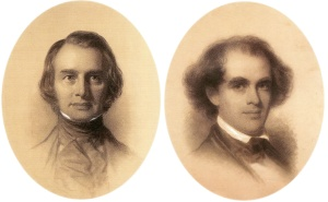 Eastman Johnson's crayon portraits of Longfellow (left) and Hawthorne (right).