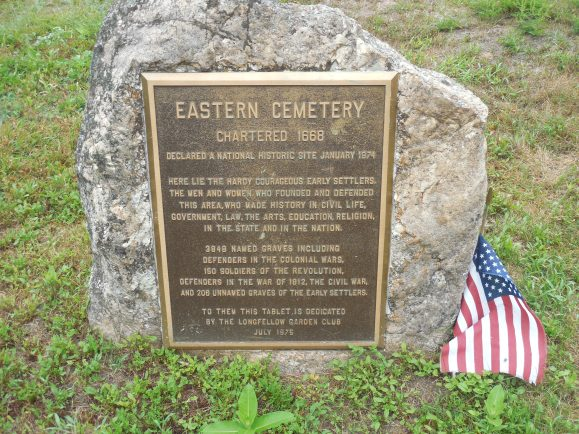 The stone at the entrance to the East End Cemetery