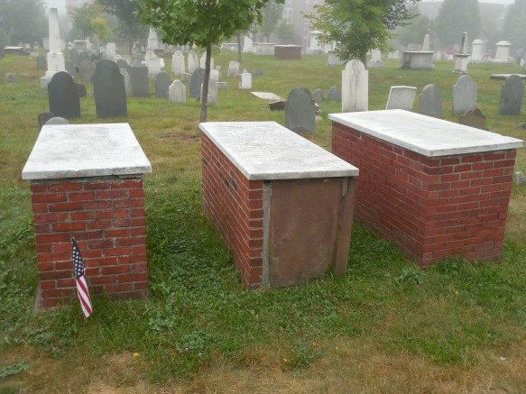The graves of British commander Samuel Blythe, American Lieutenant William Burrows and American Lieutenant Kerwin Waters