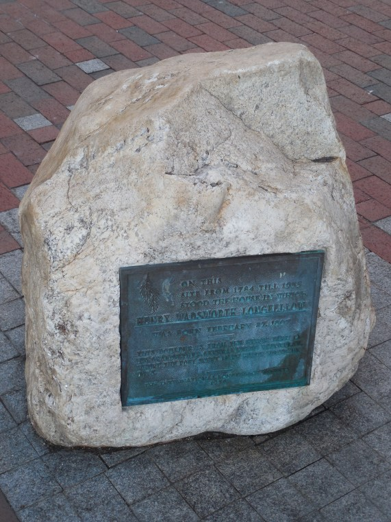The rock from Longfellow's grandfather's farm in Hiram, Maine - denoting Longfellow's place of birth.