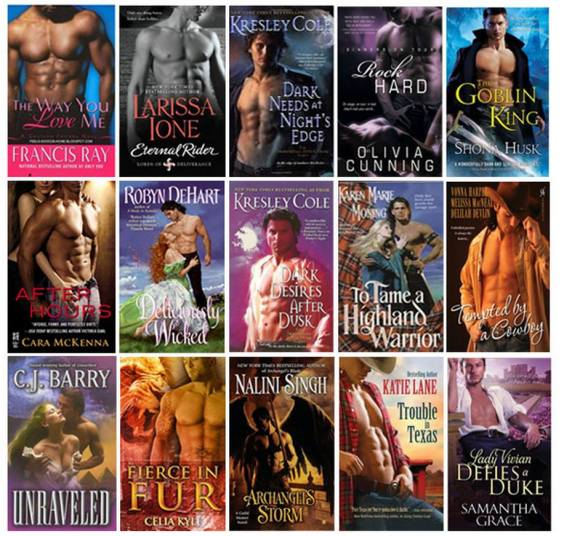 "Romance novel covers. Oh, yeah....look at those pecs and muscles and ""V"" lines. Not objectifying at all"