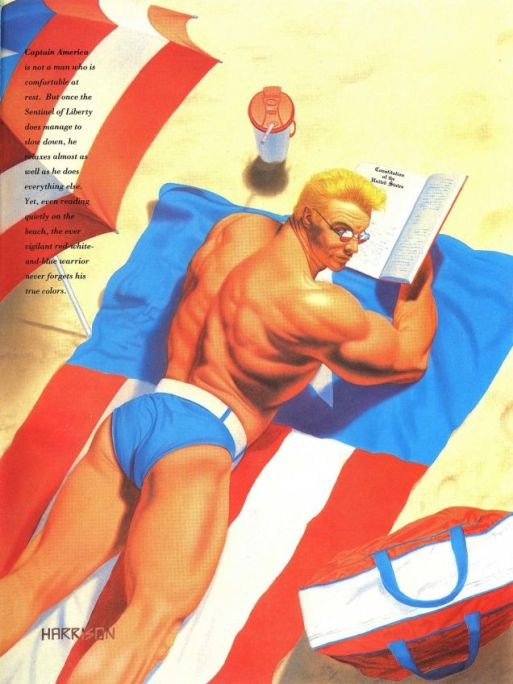 This is from back in the 90's, but this is Captain America from the Marvel Swimsuit Special series