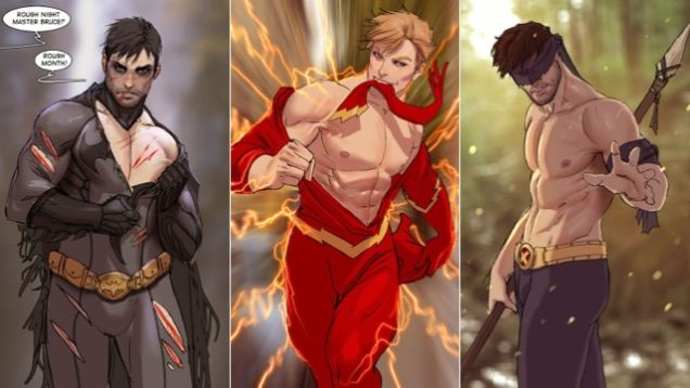Fan art sexualizing male comic book characters