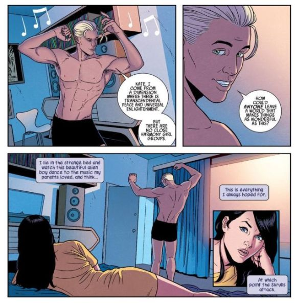 Noh-Varr dancing in his underwear