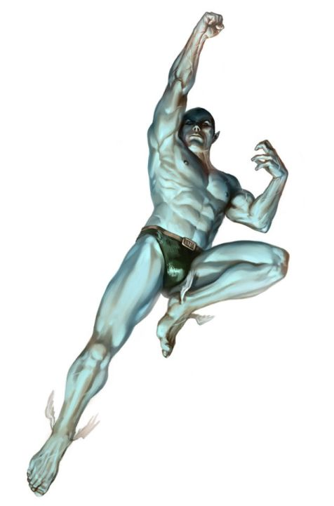 Sub-Mariner's skimpy superhero outfit consists of only a banana hammock