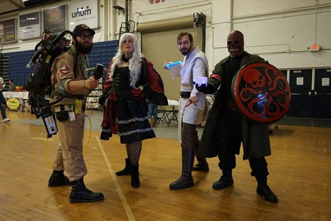 Me as Obi-Wan standing with a few other cosplaying friends. From left to right - Cory Nicholson, Lauren Treidel, Me, Matt Shaw. Photo by JtPetrin Photography.