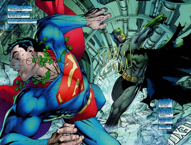Batman, going toe-to-toe with Superman - even with a Kryptonite ring. Yeah. Right.