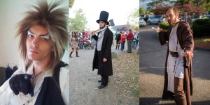 I cosplay as Jareth from Labyrinth, Abraham Lincoln: Vampire Hunter, and Obi-Wan Kenobi from Episode III