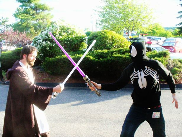 Me as Obi-Wan Kenobi on the left and Dylan on the right in the Venom hoodie. Taken at PortCon 2014 in South Portland, Maine.