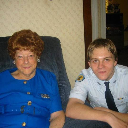 Chad with our great grandmother, Bertha Coombs, who died not too long ago. He was not here to know that she's died, and he loved her very much.