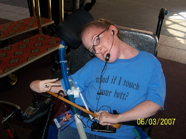 Shawna attends anime conventions (and that shirt gives you a glimpse of her sense of humor). This is her at A-Kon 2007