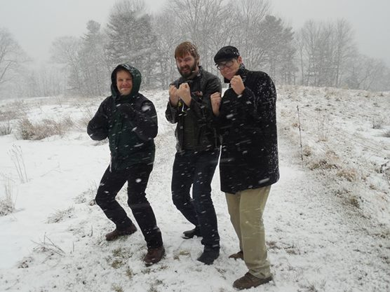 My friends and I goofing off outside the Stone House in the winter of 2014.