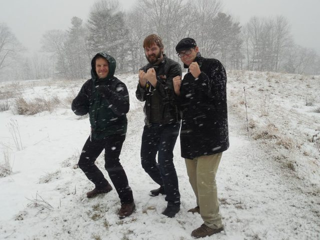 Richard with our friend Frank and me in the snow during a winter residency at Stonecoast.