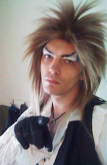 Me during a makeup and wig test for my Jareth cosplay.