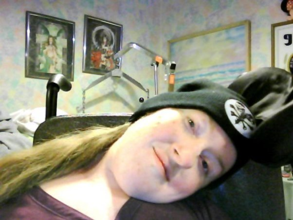 Shawna showing her love of music with a cool Mudvayne hat. (She insists it's not the best band ever, but she loves the skull design)