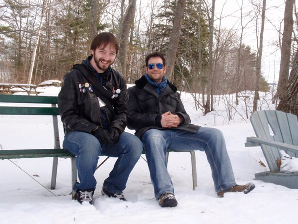 Richard and me sitting on a bench at the Stone House. Photo by Enza Vescera.