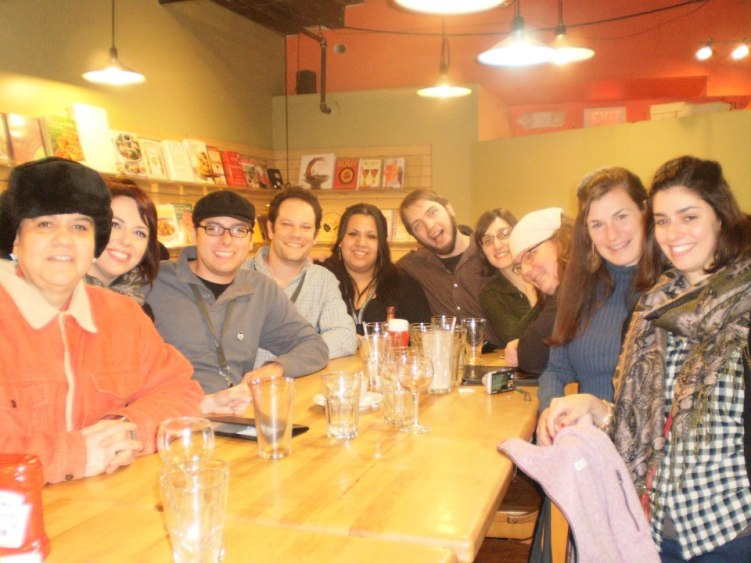 Richard together with me and a bunch of our Stonecoast friends during AWP (writing conference) when it was in Boston, Mass.