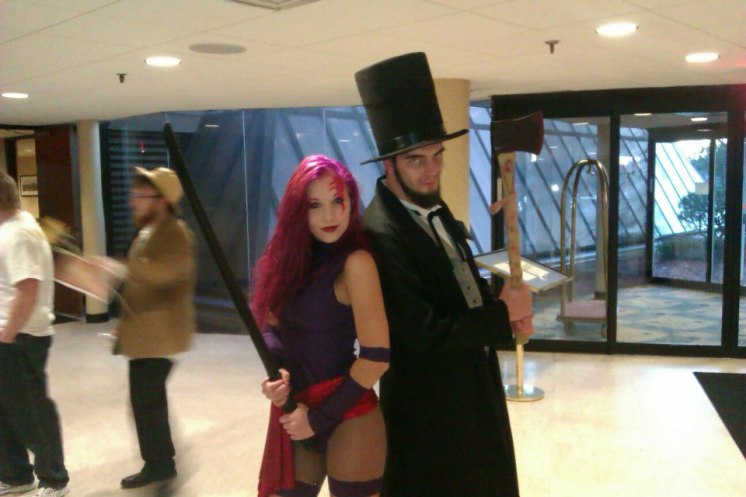 Me as Abraham Lincoln: Vampire Hunter teaming up with Liana Richardson as Psylocke from X-Men.