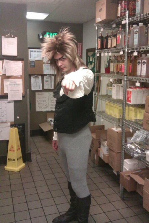 "Me in my Jareth cosplay at work on ""80's Day""."