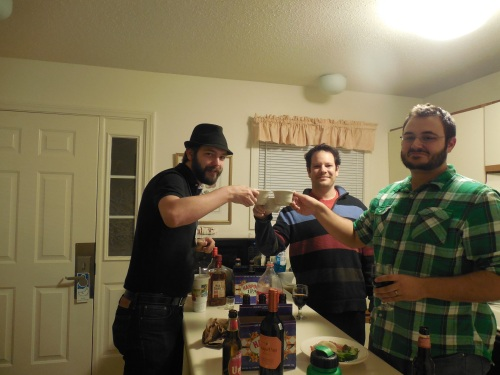 "Me getting Richard and Shane to do my own tradition of ""Acid Shots"" in their townhouse. (Pony glass with half Wild Turkey 101 and half Bacardi 151)"