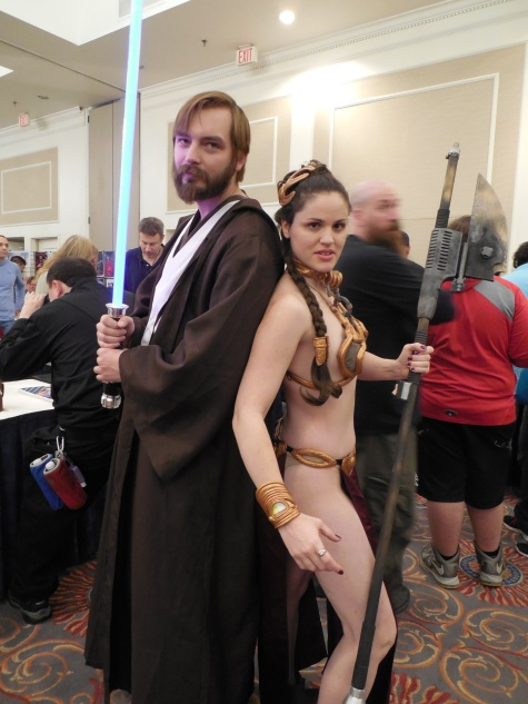 Me with a cosplayer whose name I do not know portraying Slave Leia from Star Wars. This was taken at Super Megafest.