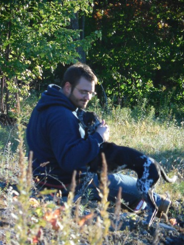 Shane and his dog during one of the hikes we made around my birthday in the fall.