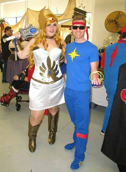 Cosplaying as She-Ra, Warrior Princess. Michael Andersen on right. Taken at Granite State Comicon.