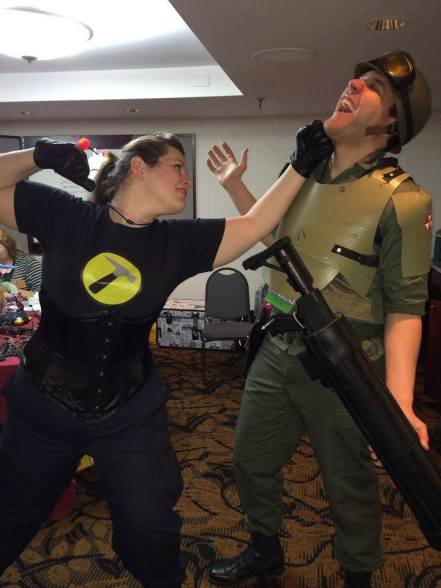 Cosplaying as Captain Hammer. (Dr. Horrible's Sing-Along-Blog). Taken at PortCon. Cosplayer Thomas Pinette on the right.