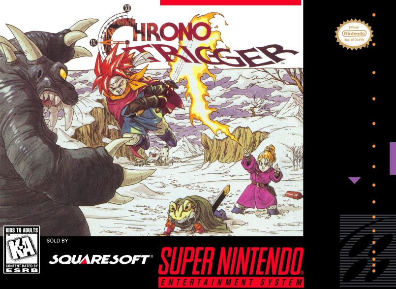 Box art for the SNES Chrono Trigger game cartridge.