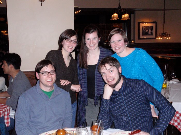 Karla and I were at Maggiano's Little Italy in Boston for dinner during our time at AWP. From left to right: Frank, Enza, Erin, me, Karla.