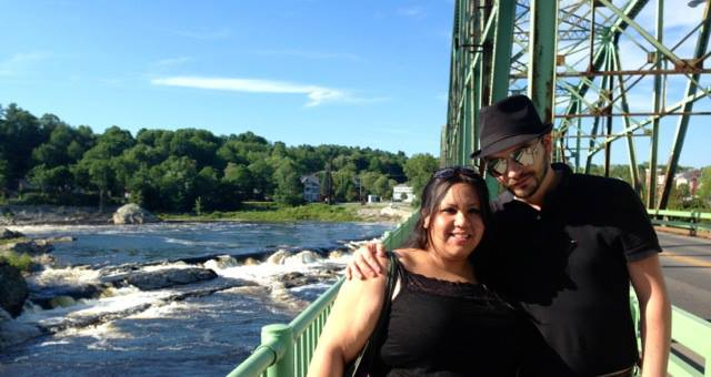 Alex posed with me on a bridge in Brunswick, Maine.