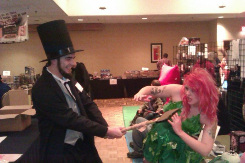 Me as Abe Lincoln: Vampire Hunter, facing off against Tranifer in her Poison Ivy getup. This was the first time we met in person, I think.