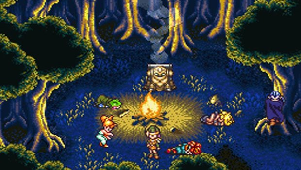 Crono and his friends take a moment to rest on their journey through time and space.