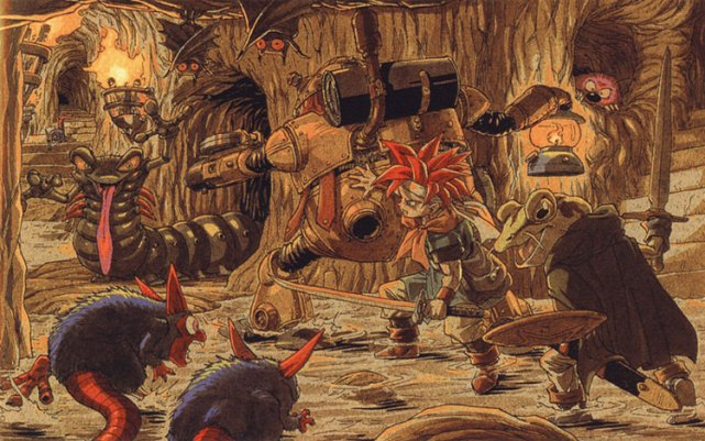 Robo, Crono, and Frog explore a cave filled with creatures.