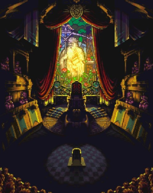 This is a courtroom, located within a castle. Look at the amazing detail. The stained glass window, the shadows. It sets mood, it evokes feeling.