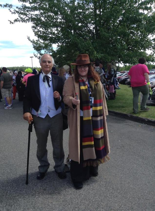 Bud cosplaying as the First Doctor, standing next to a lady version of the Tom Baker Dr. Who.