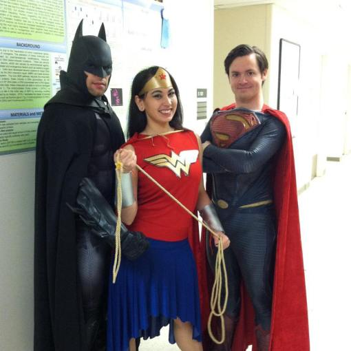 Steve on the far right as Superman (DC) with a couple other cosplaying friends, volunteering.