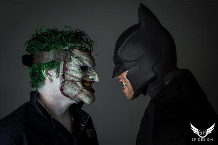 Promotional photography for. Steve as  Joker (DC) on the left.