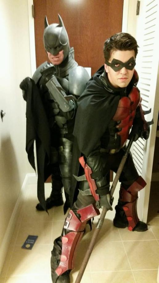 "Steve on the left as Batman (DC). ""Canadian Nate"" on the right as Robin (DC)."
