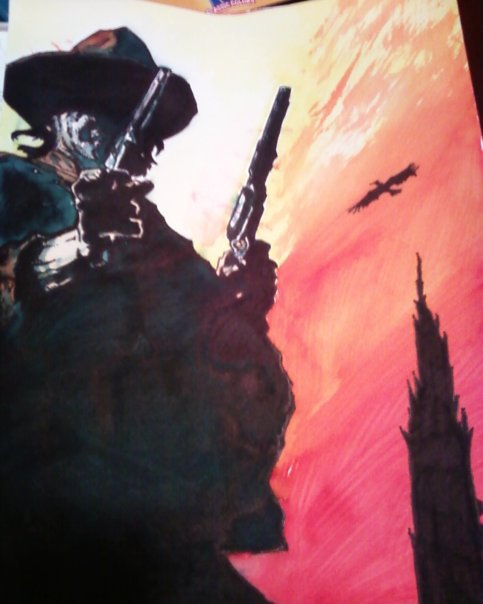 A marker wash I did for my former Father-In-Law as a Christmas gift of the character Roland from Stephen King's Dark Tower series. This image was copied from a comic book image by Joe Quesada.