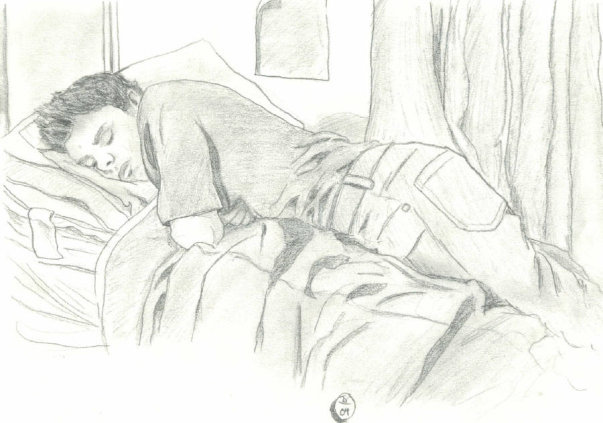 A drawing of one of my brothers, Chad, as he slept in my room one day.