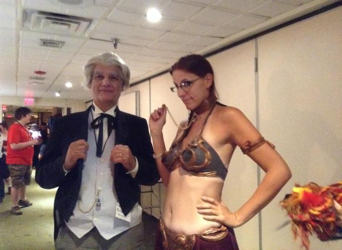 Bud as The Doctor, posing with another cosplayer portraying Princess Leia from Star Wars.