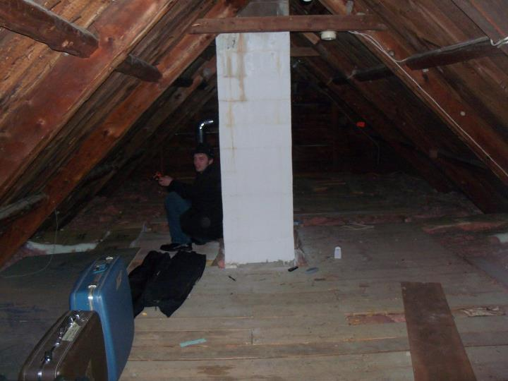 "Me, investigating a friend's attic. One of my first ""Ghost Gumshoes"" investigations."