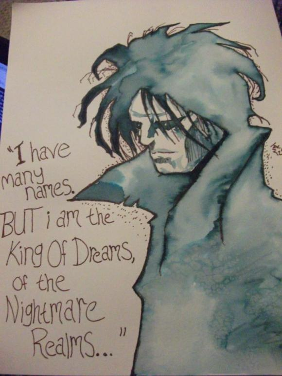 A marker wash of Neil Gaiman's character Morpheus from Sandman I did for a friend, using an image I found online.