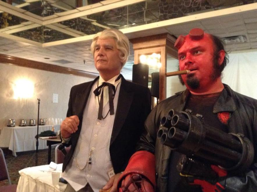 Bud as the first Doctor next to his son, Ben, cosplaying as Hellboy.