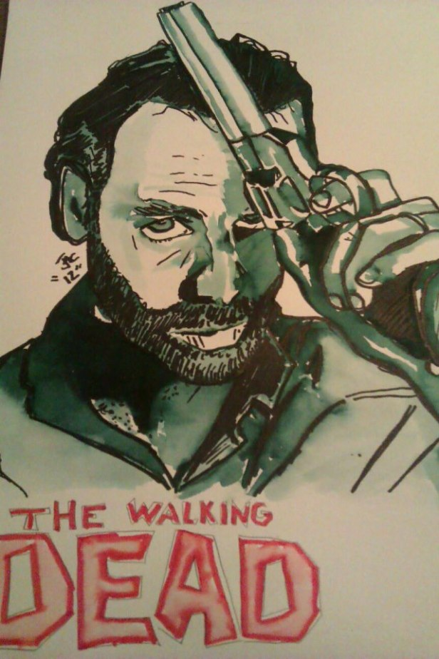 A more simple marker wash I did of the image on the front of an Entertainment Weekly magazine cover of Rick Grimes from The Walking Dead.